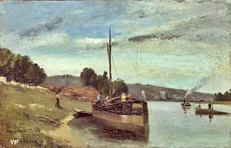 Péniche sur la Seine (Camille Pissarro, 1864)