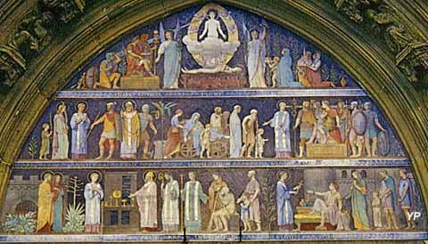 Église Saint-Laurent - vie de saint Laurent (tympan en lave émaillée - Paul Balze, XIXe s.)