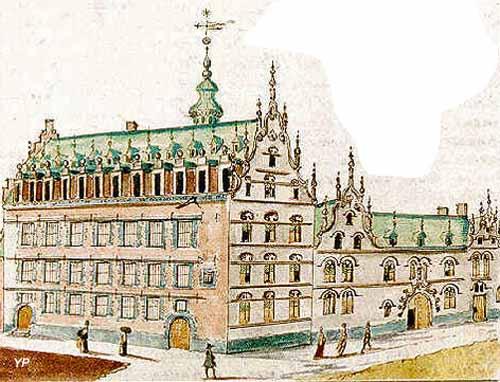 Le Mont de Piété et l'Hôtel de Carondelet en 1650, extrait de l'Histoire Ecclésiastique et religieuse de la Ville de Valenciennes (manuscrit de Simon Leboucq)
