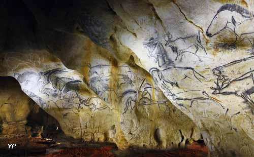 Caverne du Pont d'Arc - le panneau des chevaux réalisé par Gilles Tosello