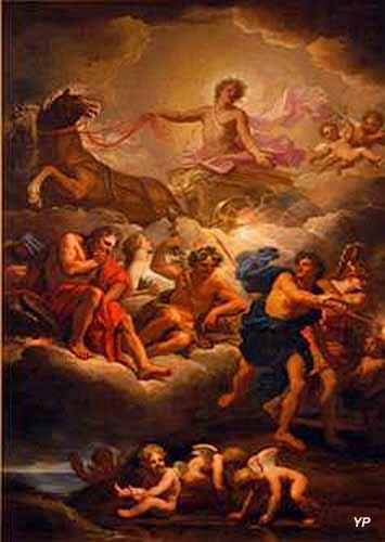 Apollon et le char du soleil avec l'assemblée des dieux, Huile sur toile (Jean Jouvenet, vers 1680-1690)  Inv. : D. 872.2.2