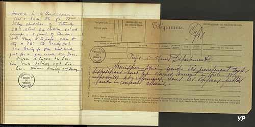 Annonce de l'Armistice de 1918 par le Préfet de l'Allier aux mairies