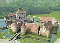 Tour de Vesvre - reconstitution 3D du site au XVIe s. (doc. Les Amis de la Tour de Vesvre)