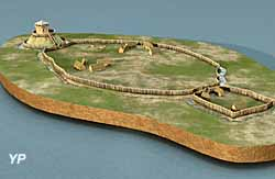 Tour de Vesvre - le site de Vesvre avant le XII° siècle (reconstitution 3D)
