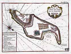 Plan de l'Ile de Gorée avec ses fortifications