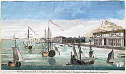 Vue des magazins de la Compagnie des Indes à Pondichéry, de l'Amirauté et de la Maison du Gouverneur