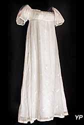Robe à manches en mousseline de coton blanc
