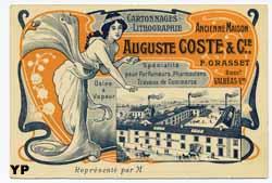 Carte de représentant de la maison de cartonnages lithographie F. Grasset Valréas