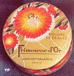 Boîte de poudre de riz Frimousse d'or (1929) (Musée départemental du Cartonnage et de l'Imprimerie)