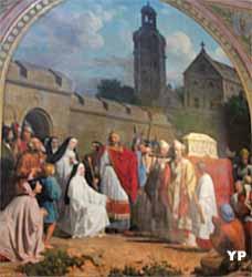 Charlemagne apporte la Sainte Tunique au prieuré d'Argenteuil (Friedrich Bouterwek, XIXe s.)