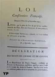 Hôtel de Bourvallais - salle des sceaux - Décret de l'Assemblée nationale contenant la Déclaration des Droits de l'Homme et du Citoyen signé par Louis XVI le 3 septembre 1791