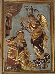 L'Annonciation (bas-reliefs en bois doré polychrome, Tournié XVIIe s.)