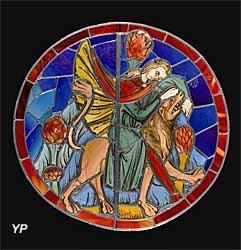 Samson sur le lion, vitrail de la Sainte-Chapelle de Paris (Rondel, vers 1250)