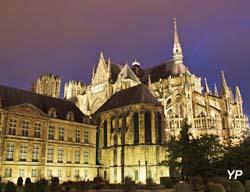 Cathédrale Notre-Dame et Palais du Tau la nuit