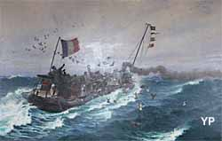 Lâcher de pigeons militaires à bord d'un torpilleur dans la Manche (Paul Jobert, 1895)