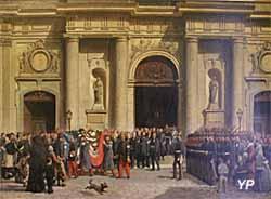 L'enterrement du lieutenant Godard devant l'église Notre-Dame de Versailles - Musée Lambinet
