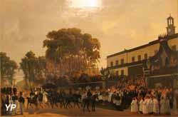 L'arrivée devant l'hôtel de ville de Versailles du char funèbre portant à Dreux le corps du duc d'Orléans le 4 août 1842 (Ferdinant Wachsmuth) - Musée Lambinet