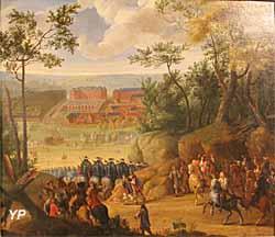 Vue du château de Versailles avec Louis XIV et une compagnie de mousquetaires (Adam Frans van der Meulen) - Musée Lambinet