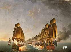 Combat de Gondelour, 20 juin 1783 (huile sur toile, Auguste-Louis Rossel de Cercy, 1791) - Musée national de la Marine