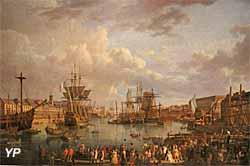 Vue de l'intérieur du port de Brest (huile sur toile, Jean-François Hue, 1793) - Musée national de la Marine
