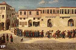 Entrée à Smyrne, le 28 septembre 1766, de Joseph de Bauffremont, prince de Listenois (huile sur toile,fin du XVIIIe s.) - Musée national de la Marine