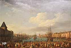 L'intérieur du port de Marseille, vu du Pavillon de l'horloge du Parc (huile sur toile, Joseph Vernet, 1754) - Musée national de la Marine