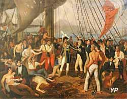 Le roi Murat récompense la Cérès, 1809 (huile sur toile,  Guillaume Descamps, 1809) - Musée national de la Marine