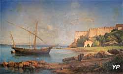 Musée de la Castre - Point de vue sur le Fort royal de l'île Sainte Marguerite, huile sur toile (Ernest Buttura, 1880)