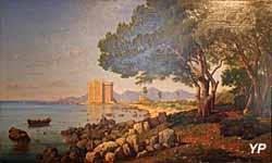 Musée de la Castre - Panorama sur le monastère fortifié de l'île Saint-Honorat (Joseph Contini, 1887)