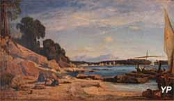 Musée de la Castre - Ravaudage des filets sur le littoral provençal, huile sur toile (Ernest Buttura, 1864)