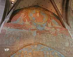Eglise Notre-Dame de l'Assomption - Jugement  dernier  et pesée  des  âmes, peinture murale (début  XVe s.)