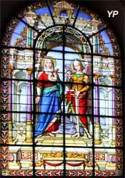 Église Notre-Dame - Mère des Douleurs et saint Michel, vitrail (A. Lusson, 1872)