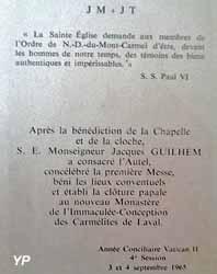 Couvent des Carmélites - image de consécration