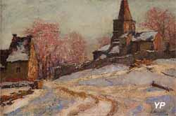 Eglise de Saint-Victor-la-Rivière sous la neige (Abbé Léon Boudal - Musée d'art Roger-Quilliot)