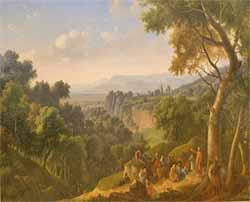 Pierre l'Ermite prêchant la Première croisade dans les montagnes d'Auvergne (Alexandre-Hyacinthe Dunouy - Musée d'art Roger-Quilliot)