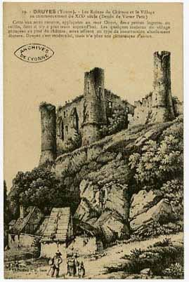 Druyes (Yonne). Les ruines du château (dessin Victor Petit)