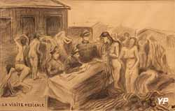 Ravensbrück, la visite médicale (Anna Garcin-Mayade, musée Edmond Michelet)