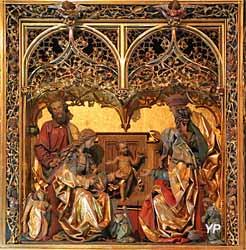 Retable néogothique de la sainte parenté de Jésus (bois sculpté polychrome, XIXe s.)