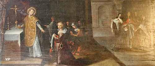 Saint Amâtre refuse de donner la communion à Palladie parce qu'elle est couverte de bijoux (XVIIe s.)