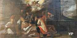 Mort de saint Amâtre, sixième évêque d'Auxerre. Son âme s'élève sous forme d'une colombe (XVIIe s.)
