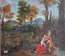 Le repos de la Sainte Famille (Domenico Zampieri, dit le Dominiquin, XVIIe s.)