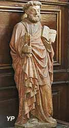 Statue de saint Pierre (pierre calcaire polychrome, XVe s.)
