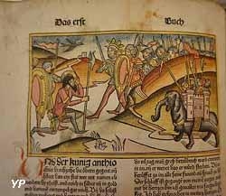 Deutsche Bibel de Nuremberg, Anton Koberger, 1483. Les Maccabées, au chapitre 6 où il est question de la bataille de Beth Zacharia