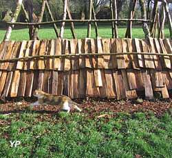 Tuiles de bois en place