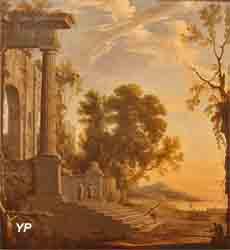 Paysage avec figures sur les marches d'un palais en ruines (Henri Mauperché)