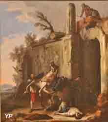 Brigands attaquant des cavaliers à Rome (Johann-Heinrich Schonfeld)