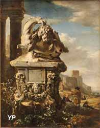 Groupe sculpté dans un paysage italien (Jan Weenix)