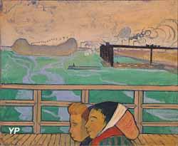 Deux femmes sur la passerelle d'Asnières (Emile Bernard)