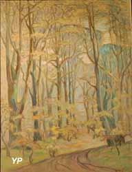 Sous-bois aux arbres élancés (Emmanuel de la Villéon)