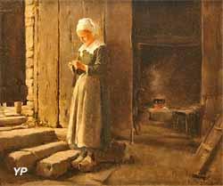 Bretonne tricotant dans un intérieur (Otto Hagborg, 1883)